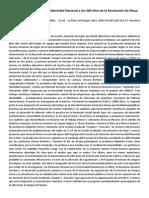 Enseñanza de Inglés e Identidad Nacional a Los 200 Años de La Revolución de Mayo