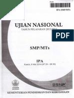 NASKAH SOAL UN (Ujian Nasional) IPA SMP TH 2014 PAKET -09