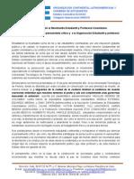 No más persecución al Movimiento Estudiantil y Profesoral Colombiano. Reivindicamos el derecho al pensamiento crítico y  a la Organización Estudiantil y profesoral