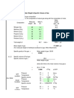 Natural Gas Density & Sp. Volume Calculation