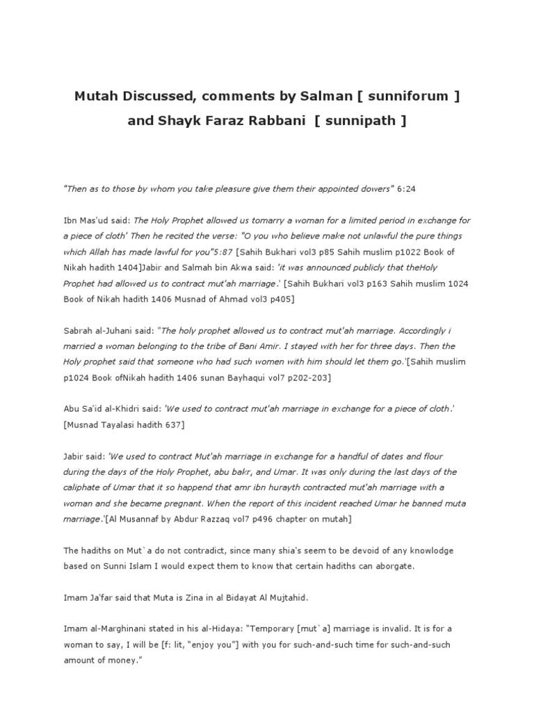Muta Discussed | Hadith | Abrahamic Religions