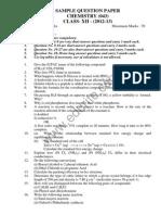 Class 12 Cbse Chemistry Sample Paper 2013