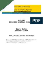 INFS2603 Course Outline Part a S2 2014