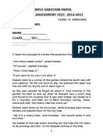 Cat Sample Papers English Class 5