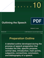 Chapter 10 -- Outlining the Speech