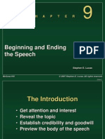 Chapter 9 -- Beginning Ending the Speech