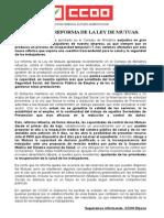 Ccoo Rechaza La Reforma de La Ley de Mutuas