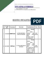 Registrul Specialistilor Monumente 2011