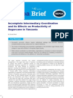 Incomplete Intermediary Coordination and its Effects on Productivity of Sugarcane in Tanzania