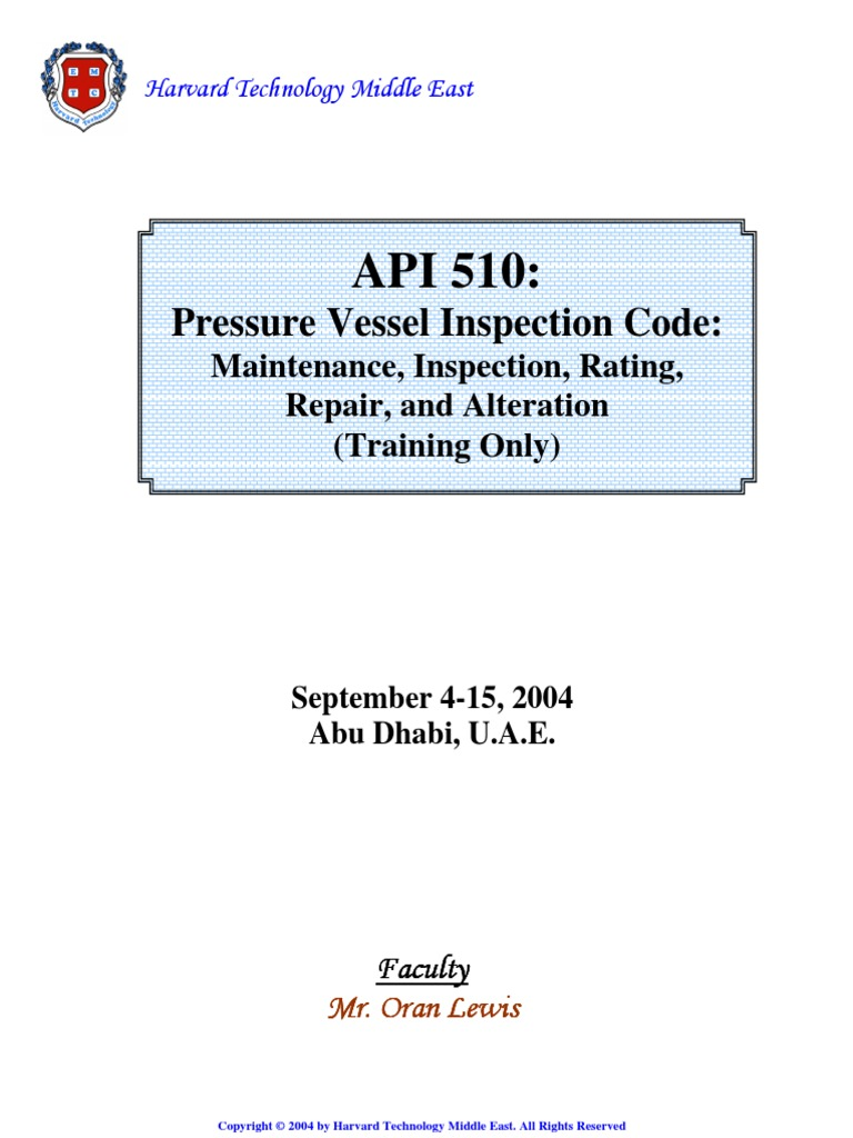 api 510 pressure vessel inspection training material welding rh scribd com