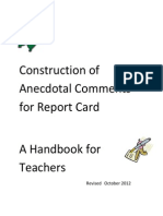 construction of anecdotal comments for report card october 22 2012