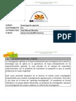 Planificación Del Curso de Investigación Agricola