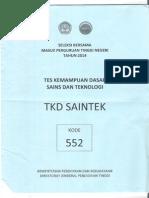 Soal SBMPTN Saintek 2014