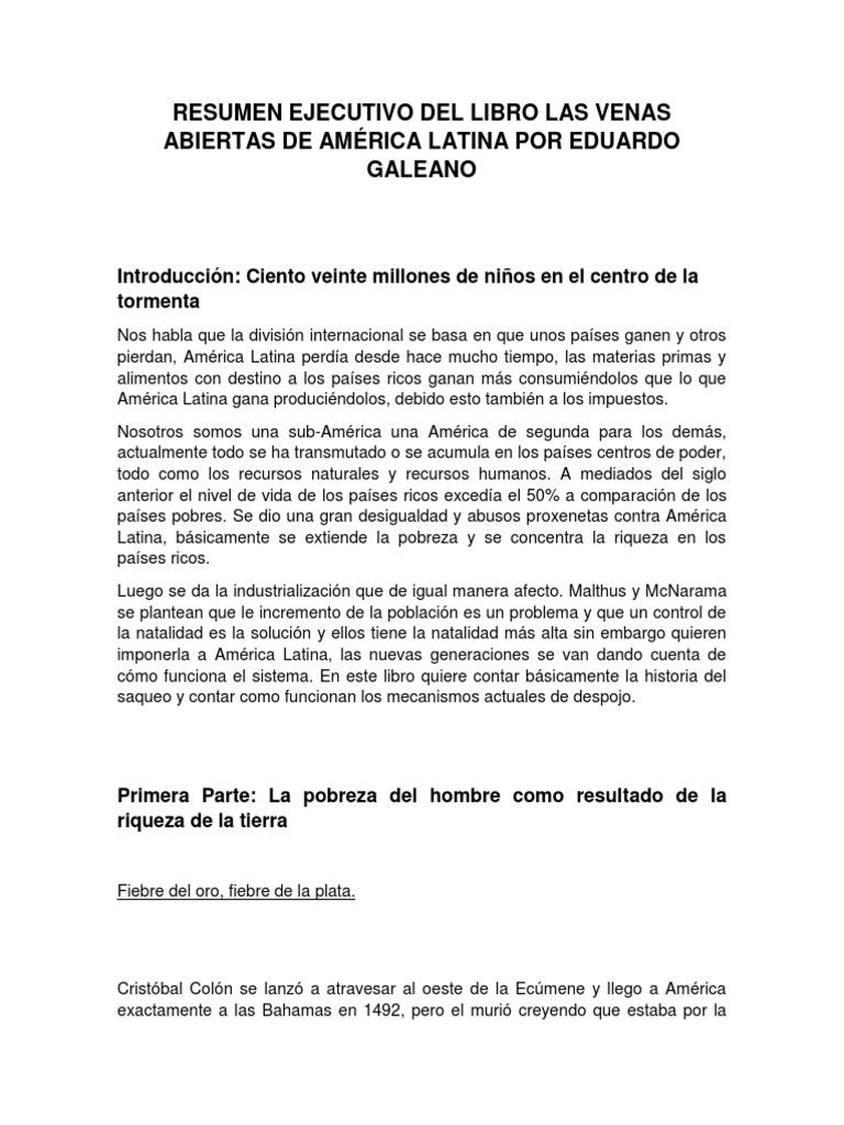 Resumen Ejecutivo Del Libro Las Venas Abiertas de América Latina Por ...