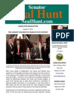 August Newsletter from Senator Neal Hunt