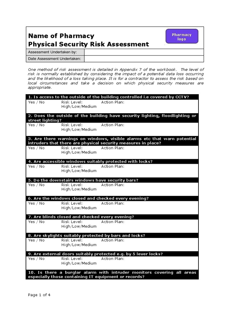 Physical security risk assessment physical security for Physical security survey template