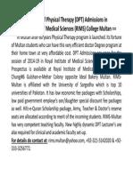 DPT Admissions & Jobs Oppoertunities 2014