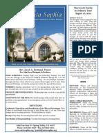 Santa Sophia Bulletin Aug 10, 2014