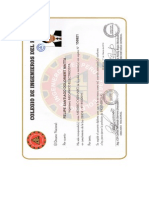 Certificado de Colegiatura Del Colegio de Ingenieros Del Peru