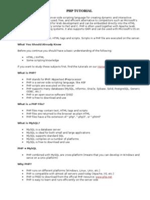 W3schools php tutorial free pdf