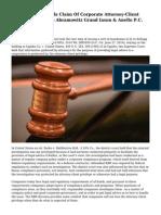 D.C. Circuit Upholds Claim Of Corporate Attorney-Client Privilege | Morvillo Abramowitz Grand Iason & Anello P.C.