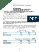 PNRA Second Quarter 2014 Earnings Release