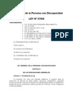 Ley General de la Persona con Discapacidad -  LEY Nº 27050