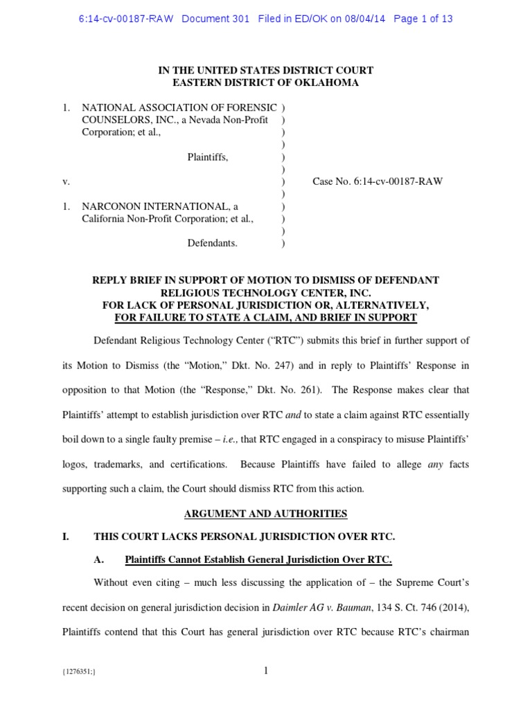 Nafc V Scientology Reply To Support Motion To Dismiss Rtc