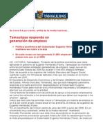 com0852 310806 Tamaulipas responde en  generación de empleos