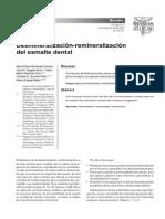 Desmineralización - remineralización del esmalte dental