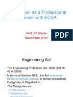 Registration as a Professional Engineer With ECSA