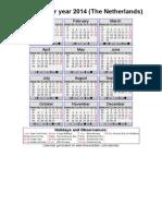 Year 2014 Calendar – the Netherlands