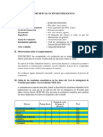 Informe de Evaluación de Inteligencia Wisc-III