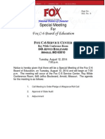 August 12, 2014 Special Mtg- Fox C-6 to request State Audit