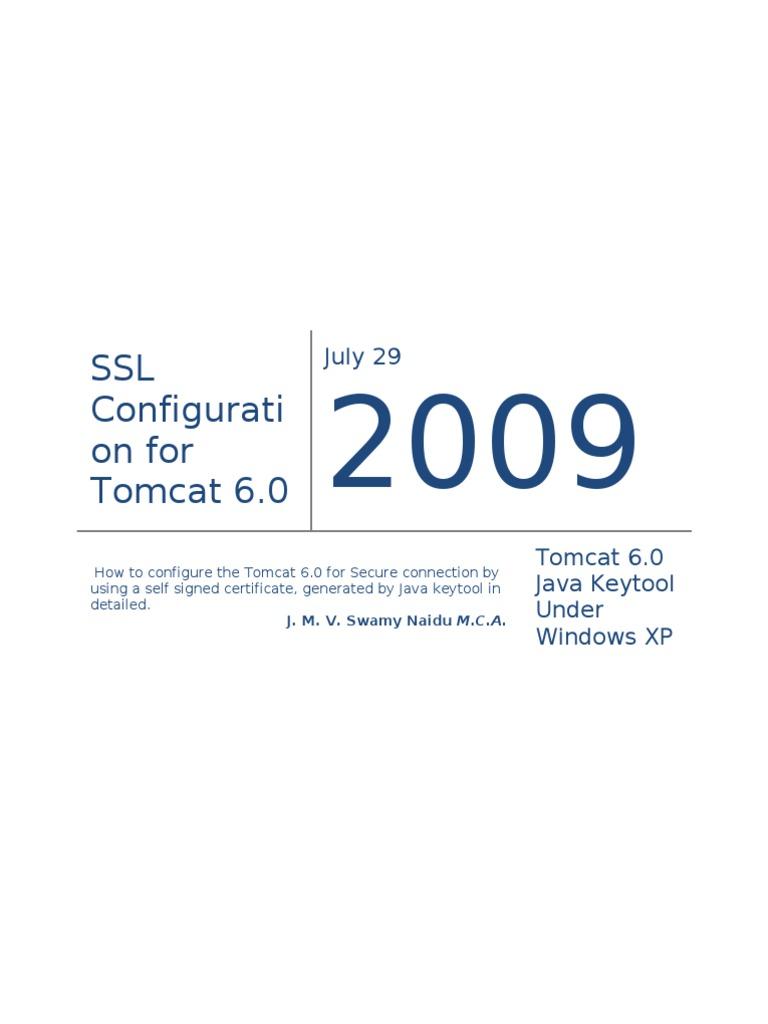 Configure Tomcat 6 For Ssl Using Java Keytool Transport Layer