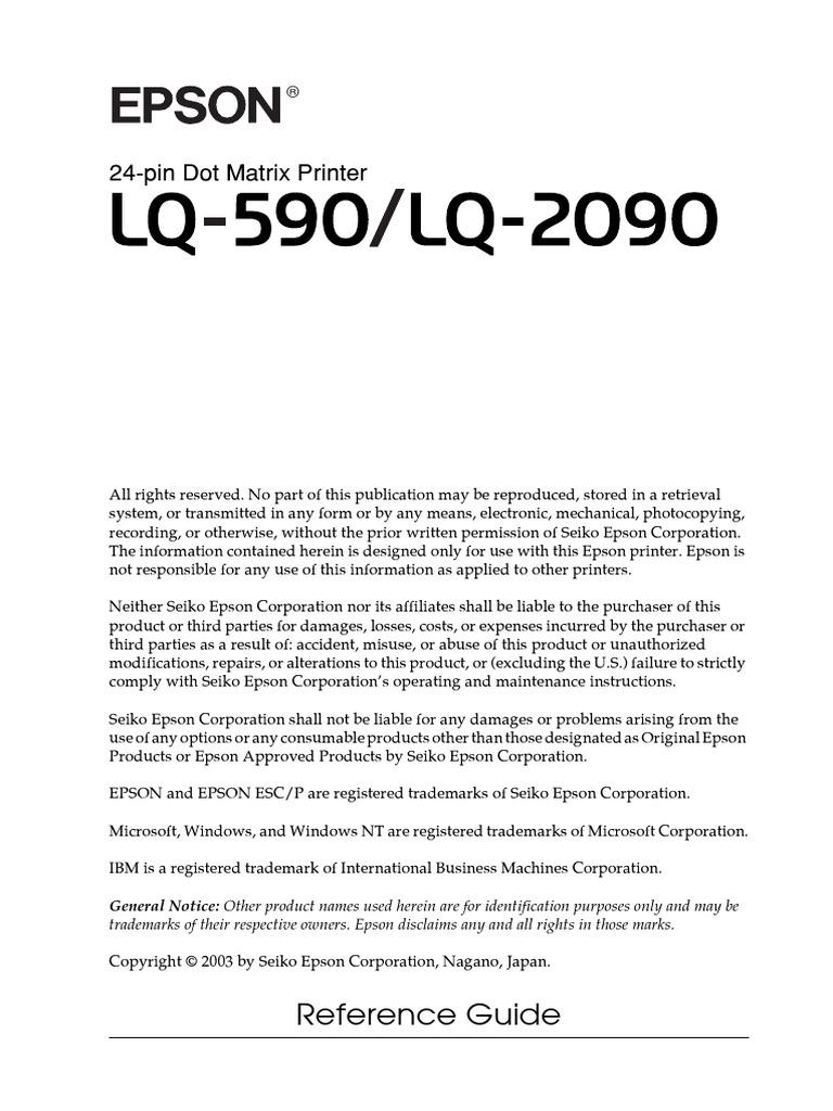 epson lq 2090 custom paper setting