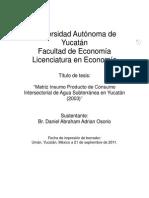 Matriz Insumo Producto de Consumo Intersectorial de Agua Subterranea en Yucatán (2003)