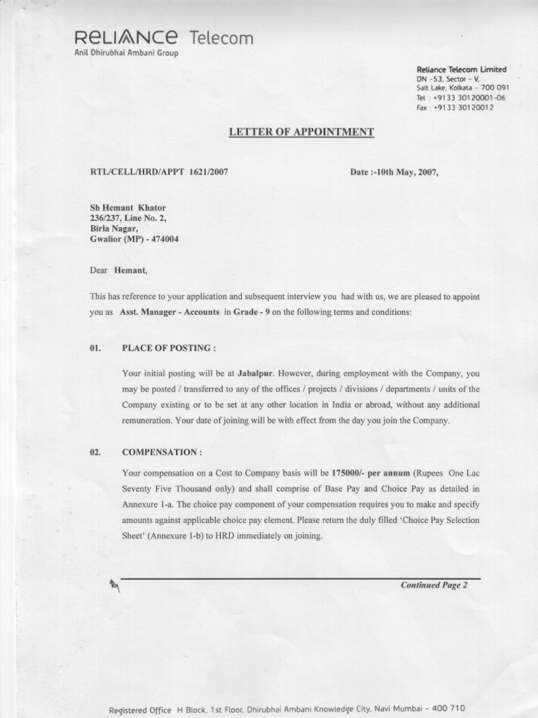 Reliance Offer Letter Know How Government Information