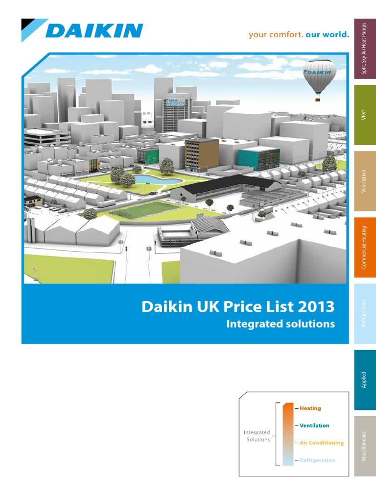Daikin AC Price List 2013 | Air Conditioning | Hvac