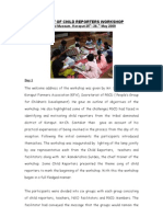 REPORT OF CHILD REPORTERS WORKSHOP with Photos