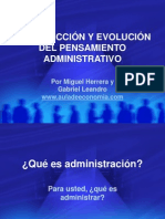 Introducción a La Evolución Del Pensamiento Administrativo (1)