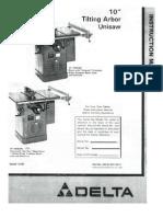 Delta Unisaw (1981) Instruction Manual