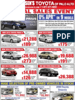 Toyota of Palo Alto Sunnyvale Mountain View - Print Ad Used Cars Corolla Yaris Camry Prius Highlander Rav4 April 8, 2010