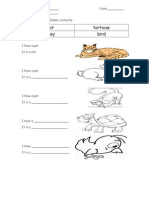 English Year 1 Exercise T&L Topic Pets