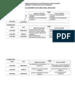 I IA TEST Time Table 2014