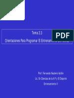 Orientaciones Para La Programación Del Entrenamiendo de La Fuerza. Fernando Nacleyro