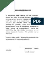 CONSTANCIA DE INGRESOS
