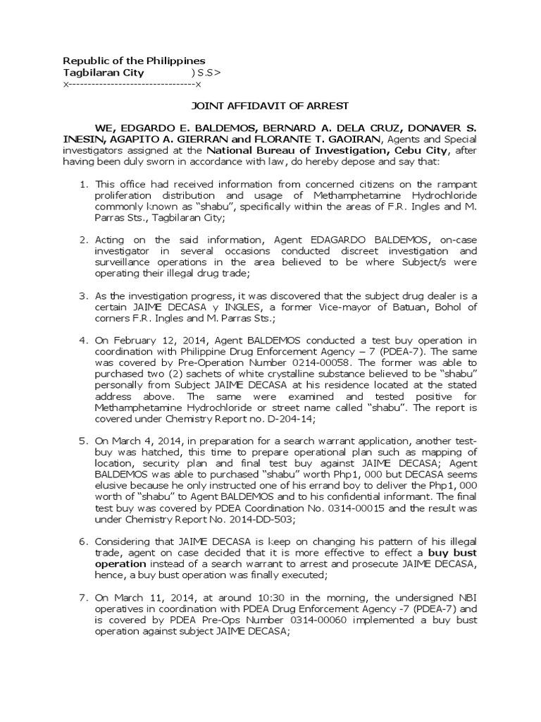 2 Affidavit Of Arrest Illegal Firearms 2 Arrest Legal Action