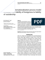 The Uppsala Internationalization Process Model Revisited- From Liability of Foreignness to Liability of Outsidership.