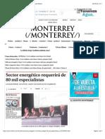 08-08-14 Sector energético requerirá de 80 mil especialistas